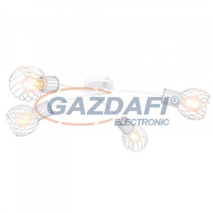 GLOBO 54014-4D MAIDA Mennyezeti lámpa fehér-króm színben, fém rácsos búrával. HxSZxM:780x380x210, exkl. 4xE27 40W 230V