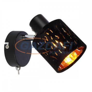 GLOBO 54121-1 TROY Fali lámpa , 8W , E14 , fém fekete ,  matt , króm, bársony fekete , műanyag , arany