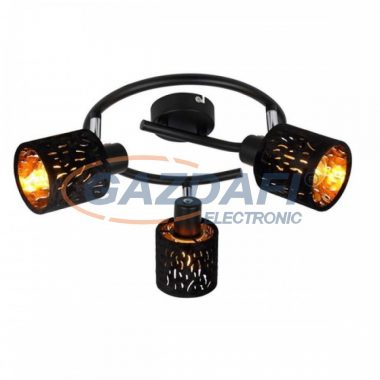 GLOBO 54121-3  TROY Mennyezeti lámpa , 8W , 3x E14 , fém fekete , matt , króm, bársony fekete , műanyag , arany