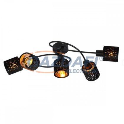 GLOBO 54121-5 TROY Mennyezeti lámpa , 8W ,  5x E14 , fém fekete , matt , króm, bársony fekete , műanyag , arany