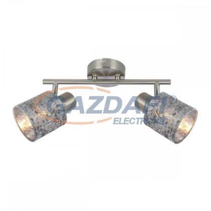 GLOBO 54122-2 ALYS Mennyezeti lámpa , 8W , 2x E14 , nikkel matt, króm, bársony , műanyag, ezüst