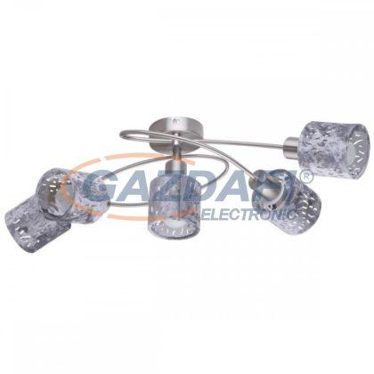 GLOBO 54122-5 ALYS Mennyezeti lámpa , 8W , 5x E14 , nikkel matt, króm, bársony , műanyag, ezüst