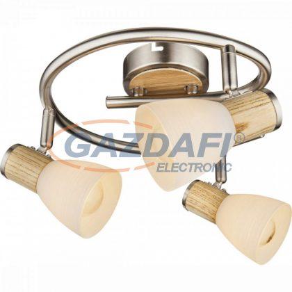 GLOBO 54352-3 GYLFI Mennyezeti lámpa , 40W , 3x E14 , faipari , nikkel matt , üveg