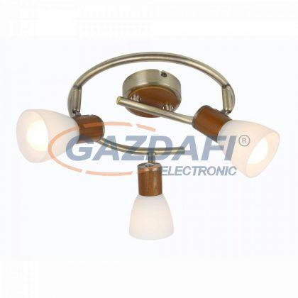 GLOBO 54353-3  Itasy Mennyezeti lámpa , 40W ,  3x E14 , anitik réz , fa üveg