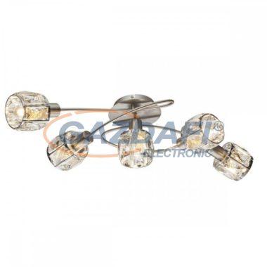 GLOBO 54356-5 KRIS Mennyezeti lámpa , 40W ,  5x E14 , nikkel matt, króm, üveg kristály