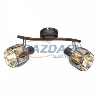 GLOBO 54357-2  INDIANA Mennyezeti lámpa , 40W ,  2x E14 , bronz , króm , füstös hatású üveg kristály