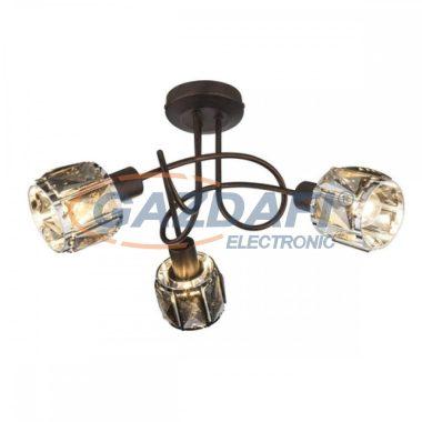 GLOBO 54357-3 INDIANA Mennyezeti lámpa , 40W , 3x E14 , bronz , króm , füstös hatású üveg kristály