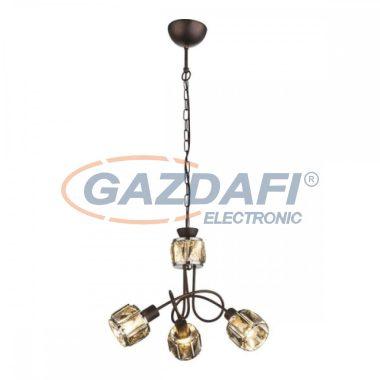 GLOBO 54357-3H  INDIANA Függeszték , 40W ,  3x E14 , 3000 K , 305 Lm , bronz , króm , füstös hatású üveg kristály