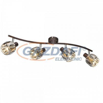 GLOBO 54357-4 INDIANA Mennyezeti lámpa  , 40W ,  4x E14 , bronz , króm , füstös hatású üveg kristály