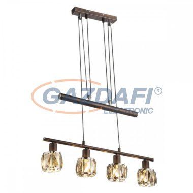 GLOBO 54357-4Z  INDIANA Függeszték , 40W , 4x E14 , bronz , króm , füstös hatású üveg kristály