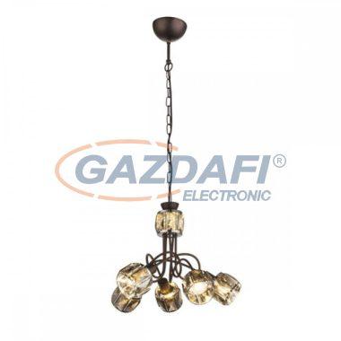 GLOBO 54357-5H INDIANA Függeszték ,40W , 5x E14 , 3000 K , 305 Lm , bronz , króm , füstös hatású üveg kristály