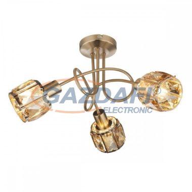 GLOBO 54358-3 MERO Mennyezeti lámpa , 40W , 3x E14 , antik arany , sárgaréz , üvegkristályok , borostyán