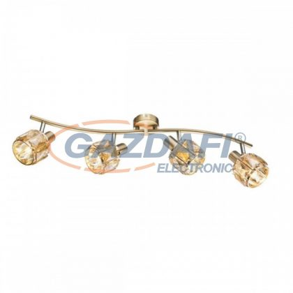 GLOBO 54358-4 MERO Mennyezeti lámpa , 40W ,  4x E14 , antik arany , sárgaréz , üvegkristályok , borostyán