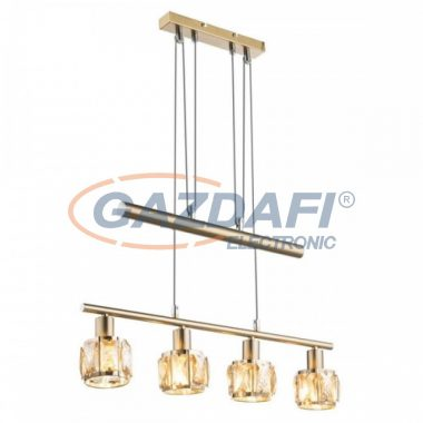 GLOBO 54358-4Z MERO Függeszték , 40W , 4x E14 , antik arany , sárgaréz , üvegkristályok , borostyán