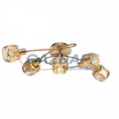GLOBO 54358-5  MERO Mennyezeti lámpa , 40W ,  5x E14  , antik arany , sárgaréz , üvegkristályok , borostyán
