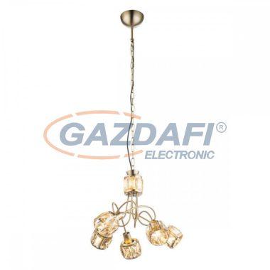 GLOBO 54358-5H MERO Függeszték , 40W ,  5x E14 , 3000 K , 305 Lm , antik arany , sárgaráz , üveg kristály , borostyán