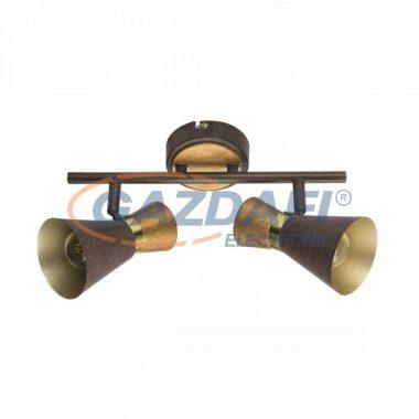 GLOBO 54808-2 MAREI Mennyezeti lámpa, 25W , 2x E14 , rozsda hatású , sárgaréz, antik arany , fa