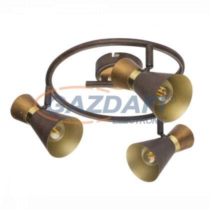 GLOBO 54808-3 MAREI Mennyezeti lámpa, 25W ,  3x E14 , rozsda hatású , sárgaréz, antik arany , fa
