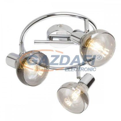 GLOBO 54921-3 LOTHAR Mennyezeti lámpa , 40W , 3x E14 , króm , füstös hatású üveg