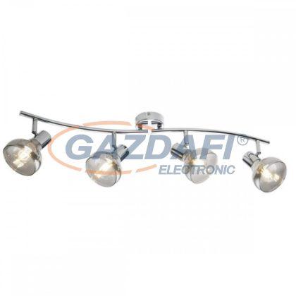 GLOBO 54921-4 LOTHAR Mennyezeti lámpa, 40W ,  4x E14 , króm , füstös hatású üveg