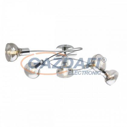 GLOBO 54921-5 LOTHAR Mennyezeti lámpa , 40W , 5x E14 , króm , füstös hatású üveg