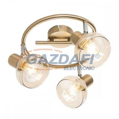 GLOBO 54922-3 DONTO Mennyezeti lámpa , 40W , 3x E14 , antik arany , króm , üveg , borostyán