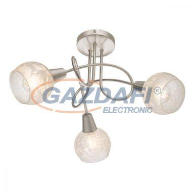 GLOBO 54987-3 CALIFORNIA Mennyezeti lámpa , 40W ,  3x E14 , nikkel matt , üveg
