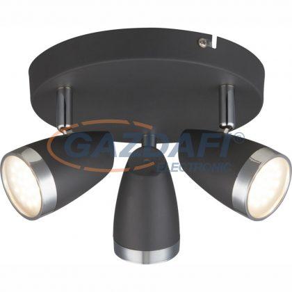 GLOBO 56110-3 Nero Mennyezeti lámpa ,  3x LED 4W , 3000 K , 3x 250 Lm , fém antracit, króm, műanyag