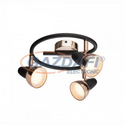 GLOBO 56117-3 Cappuccino Mennyezeti lámpa , 3x LED 4W , 3000 K , 3x 250 Lm , fém fekete , réz , műanyag