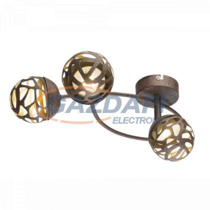 GLOBO 56802-3 OHIO Mennyezeti lámpa , 3x LED 4W , 3000 K , 3x 220 Lm , rozsda hatású , arany , műanyag