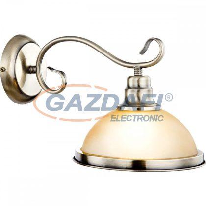 GLOBO 6905-1W SASSARI Fali lámpa , 60W , E27 , 230V , antik sárgaréz , üveg