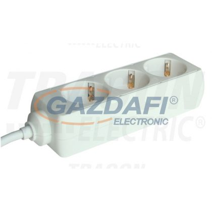 TRACON H3-3M Hordozható elosztósáv, normál, fehér 3×SCHUKO, 3m, max.16A, 250VAC, 3680W, 3x1,5mm2, H05VV-F
