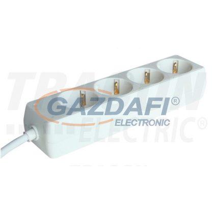 TRACON H4-3M Hordozható elosztósáv, normál, fehér 4×SCHUKO, 3m, max.16A, 250VAC, 3680W, 3x1,5mm2, H05VV-F