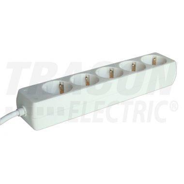 TRACON H5-5M Hordozható elosztósáv, normál, fehér 5×SCHUKO, 5m, max.16A, 250VAC, 3680W, 3x1,5mm2, H05VV-F