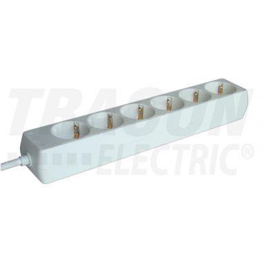 TRACON H6-5M Hordozható elosztósáv, normál, fehér 6×SCHUKO, 5m, max.16A, 250VAC, 3680W, 3x1,5mm2, H05VV-F
