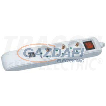 TRACON HK3-USB Hordozható elosztósáv kapcsolóval fehér, 2×USB port 3×SCHUKO,16A/250VAC,3680W, 1,4m, 3×1,5mm2, H05VV-F, USB:2.1A