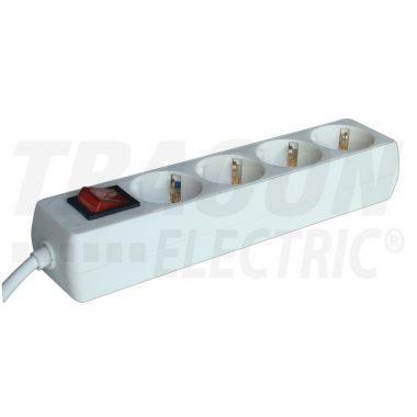 TRACON HK4-5M Hordozható elosztósáv kapcsolóval, normál, fehér 4×SCHUKO, 5m, max.16A, 250VAC, 3680W, 3x1,5mm2, H05VV-F