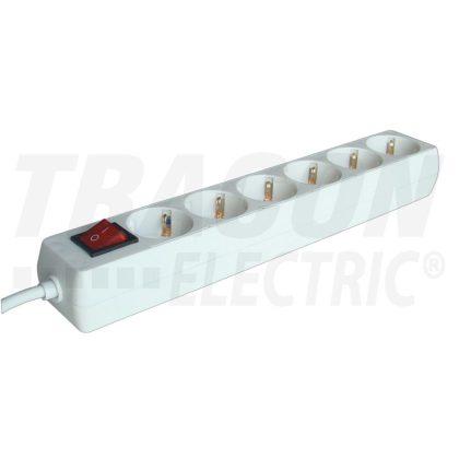 TRACON HK6 Hordozható elosztósáv kapcsolóval, normál, fehér 6×SCHUKO, 1,5m, max.16A, 250VAC, 3680W, 3x1,0mm2, H05VV-F