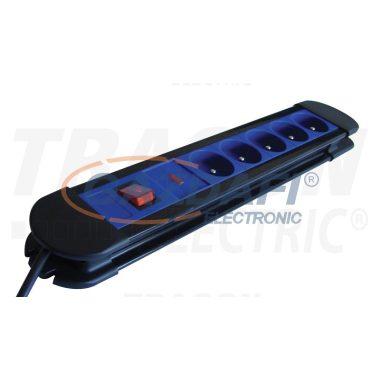 TRACON HKTF5-3M 5ös elosztó kapcsolóval,frenchtúlfeszvédelemmel 5×FRENCH, 3m, max.16A, 250VAC, 3680W, H05VV-F