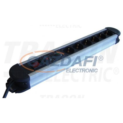 TRACON HKTM6-3M-ALU ALU 6-os elosztó kapcsolóval+túlfesz+túláram védelem 6×SHUKO, 3m, max.16A, 250V, 3680W, H05VV-F
