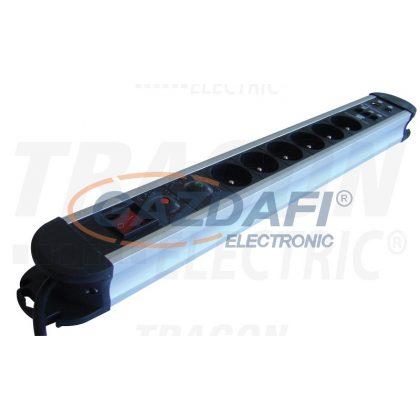 TRACON HKTMF6-3M-KT-ALU ALU 6-os elosztó kapcsoló+túlfesz+túláram+koax+tel, csapos 6×FRENCH, 3m, max.16A, 250VAC, 3680W, H05VV-F