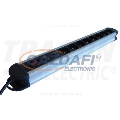 TRACON HKTMF8-3M-ALU ALU 8-os elosztó kapcsoló+túlfesz+túláram, csapos 8×FRENCH, 3m, max.16A, 250VAC, 3680W, H05VV-F