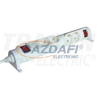 TRACON HRRK2/2 Forgatható-rögzíthető elosztósáv, kapcsolós 2×2×SCHUKO, 3m, max.16A, 250VAC, 3680W, 3x1,5mm2, H05VV-F