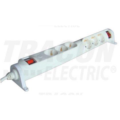 TRACON HRRK3/3 Forgatható-rögzíthető elosztósáv, kapcsolós 2×3×SCHUKO, 3m, max.16A, 250VAC, 3680W, 3x1,5mm2, H05VV-F