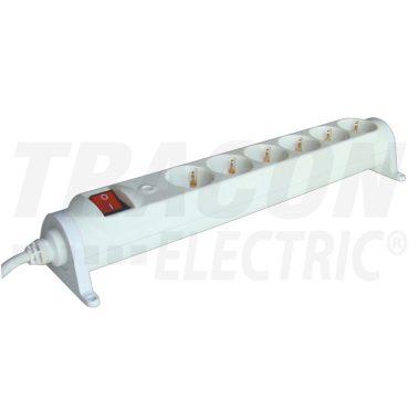TRACON HRRK6 Forgatható-rögzíthető elosztósáv, kapcsolós 6×SCHUKO, 3m, max.16A, 250VAC, 3680W, 3x1,5mm2, H05VV-F