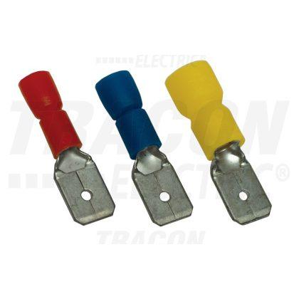 TRACON KCS6 Szigetelt rátolható csatlakozó csap, sárgaréz, kék 6,3×0,8mm, 2,5mm2
