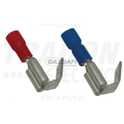 TRACON KCSE Szigetelt rátolható csatlakozó csap+hüvely, sárgaréz, kék 6,3×0,8mm, 2,5mm2