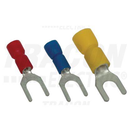 TRACON KV3 Szigetelt villás saru, ónozott elektrolitréz, kék 2,5mm2, M3, (d1=2,3mm, d2=3,6mm), PVC