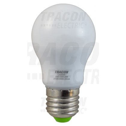 TRACON LA555W Gömb búrájú LED fényforrás 230 VAC, 5 W, 2700 K, E27, 400 lm, 250°, A55, EEI=A+