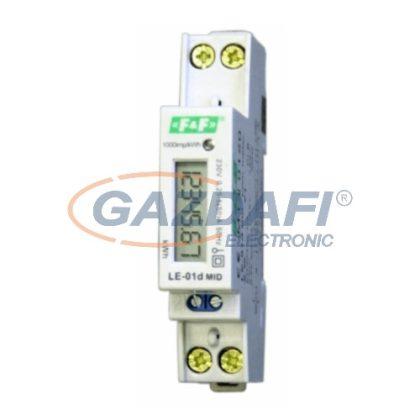 F&F Egyfázisú fogyasztásmérő, LCD, IP20, 230V, max. 45A, TS35/1M